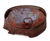 Old rusty tin can isolated on white background. Selective focus Stock Photography