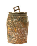 Old rusty tin can. On white background Stock Photography