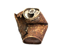 Old rusty tin can. On white background Royalty Free Stock Photography