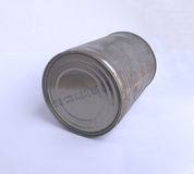 Old rusty tin can on white background. Old rusty tin can on white background Royalty Free Stock Photography