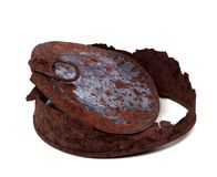 Old rusty tin can on white background Stock Photo