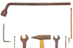 Old rusty tools arranged as a frame Stock Photos