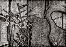Old rusty tools in black and white Stock Image