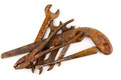 Old rusty tools isolated. On a white background stock photo