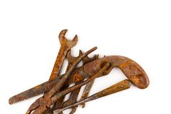 Old rusty tools isolated. On a white background stock image