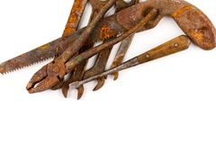 Old rusty tools isolated. On a white background stock images