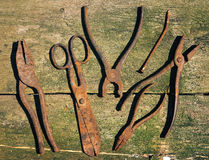 Old rusty tools, scissors, nail, pliers Stock Photo