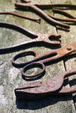 Old rusty tools, scissors, nail, pliers Royalty Free Stock Photos