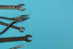 Old rusty tools, space for text royalty free stock photography