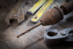 Old rusty tools in the workshop Royalty Free Stock Photo