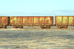 Old rusty train cars with stalactites of salt Royalty Free Stock Image