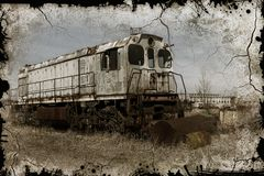 Old rusty train locomotive thrown into exclusion zone of Chernob. Yl. Zone of high radioactivity. Ghost town of Pripyat. Chernobyl disaster. Rusty abandoned vector illustration