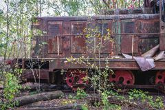 Train in Chernobyl Zone. Old rusty train near Prypiat ghost town of Chernobyl Exclusion Zone, Ukraine Royalty Free Stock Photo