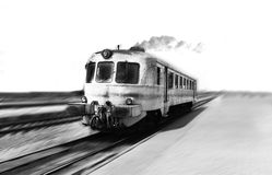 Old rusty train speeding. Black and white concept Stock Photos