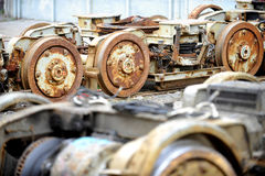 Old and rusty tram wheels Royalty Free Stock Images