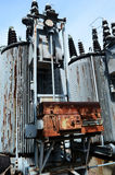 Old rusty transformer substation Stock Photo