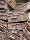 Old Rusty Trays. A pile of old rusty tray containers stock image