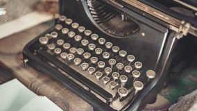 Old Rusty Typewriter On Wooden Table stock image