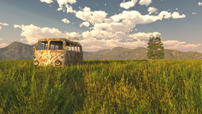 An old rusty van in a green meadow. 3D-Rendering Stock Image