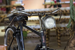 Old rusty vintage bicycle. Show in the restaurante Royalty Free Stock Images