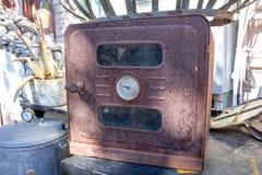 Vintage iron pressure cooker stock image