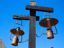 Old rusty vintage kerosene lamps royalty free stock images
