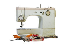 Old Rusty Vintage Sewing Machine with Cotton and Scissors Stock Photos