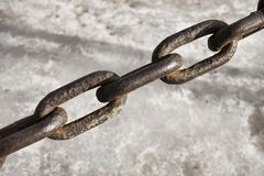 Old rusty vintage steel chain. Stock Photo