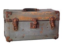 Old rusty vintage Steel chest on white background. stock image