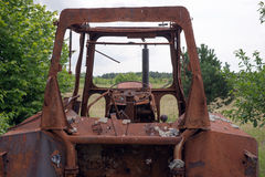 Old rusty vintage tractor. In a farm Royalty Free Stock Photos