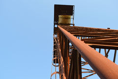 The old rusty water tower tilted Stock Photo