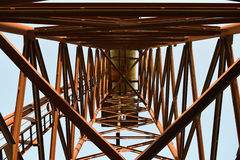 The old rusty water tower tilted Royalty Free Stock Photo