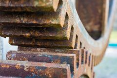 Old rusty waterwheel. Detail of the gears stock image