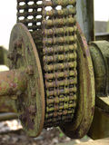 Old rusty wheel with chain drive Royalty Free Stock Photos