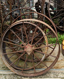 Old rusty wheel for sale at the antique market Royalty Free Stock Image