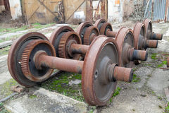 Old rusty wheels of train Stock Images