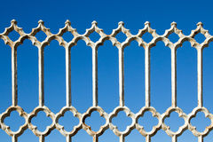 Old rusty white metal fence Stock Image
