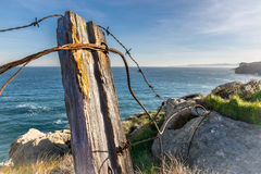 Old rusty wire fence Stock Photo