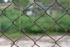 Old rusty wire net cage for protecting Royalty Free Stock Images