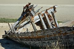 Old rusty wooden shipwreck Stock Images