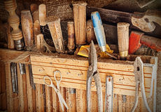 Old rusty woodworking tools. Royalty Free Stock Photos