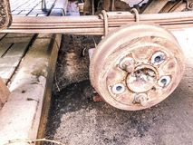 Old rusty worn drum brakes of a truck, car. Automotive suspension repair. Replacing wheel royalty free stock image