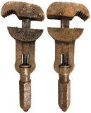 Old Rusty Wrench 2 sides. Old Rusty Wrench isolated on white background - front and back Stock Images