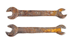 Old rusty wrench. isolated Royalty Free Stock Image