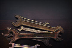 Old rusty wrenches Royalty Free Stock Photo