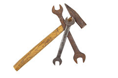 Old rusty wrenches and hammer Stock Photography