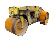 Old rusty yellow road roller isolated over white Royalty Free Stock Images