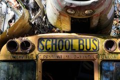 Old Abandoned School Bus stock photo