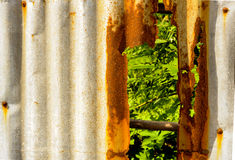 Old rusty of zinc sheet  fence is grunge  background. Old rusty of zinc sheet  fence is grunge  background around the home Stock Photo