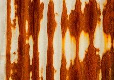Old rusty of zinc sheet fence is grunge background. stock image